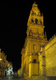Cordoba Cathedral - Former Great Mosque. Tourists walk by the Cordoba Cathedral at night. Originally a Visigothic Christian church in 600 AD, then it became the Royalty Free Stock Image