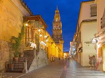 Cordoba - The Cathedral tower and walls stock image