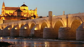Cordoba, cityscape at the Roman Bridge and Mosque-Cathedral. stock video footage