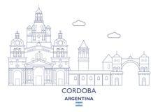 Cordoba Cty horisont, Argentina royaltyfri illustrationer