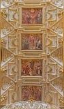 Cordoba - Decke des Hauptkirchenschiffs in Kirche Iglesia De San Agustin mit den Freskos durch Cristobal Vela (1588-1654) Stockfoto