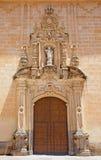 Cordoba - den barocka portalen av kyrkliga Verklig Colegiata de San Hipolito från året 1730 av Juan de Aguilar arkivfoton