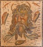 Cordoba - den forntida roman mosaiken av gon Oceanus från cent 2 - 3 i slott för Alcazarde los Reyes Cristianos Royaltyfri Fotografi