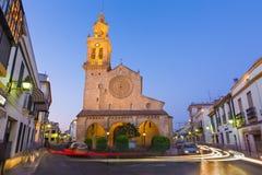 Cordoba - det gotiskt - mudejar kyrkliga Iglesia de San Lorenzo Arkivbilder