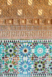 Cordoba - The detail of mudejar stucco and tiling in Capilla San Bartolome chapel. Stock Images