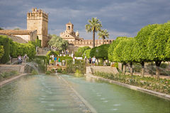Cordoba - The gardens of Alcazar de los Reyes Cristianos castle in evening light. Stock Image