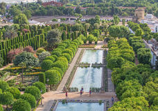 Cordoba - The gardens of palace Alcazar de los Reyes Cristianos. Royalty Free Stock Photo
