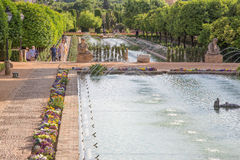 Cordoba - The gardens of palace Alcazar de los Reyes Cristianos. Stock Photos