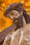 Cordoba - The head of Christ descending from the cross statue in church of Monastery of st. Ann and st. Joseph Stock Photography
