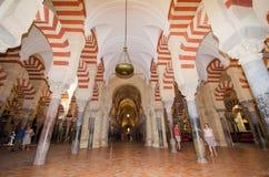 CORDOBA HISZPANIA, MAJ, - 3: Sławny cordoba meczet na Maju 3, 2014 wewnątrz Zdjęcia Royalty Free