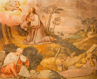 Cordoba - Jesus-Gebet in Gethsemane grarden Fresko von 17 cent durch unbekannten Künstler in der Kirche Iglesia San Nicolas de la Lizenzfreie Stockfotografie