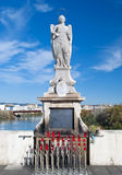 Cordoba Madonna. Decorated with potted landscape of city and river Guadalquivir in the background on a sunny day Royalty Free Stock Photo