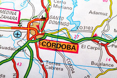 Cordoba map. The city of Cordoba  in detail on the map Royalty Free Stock Photos