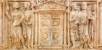 Cordoba - The marble ancient roman tomb stone from year 225 with the gate to Hades in the centre in Alcazar de los Reyes Cristiano Royalty Free Stock Photos