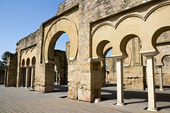 Cordoba - Medina Azahara,  arches and columns of the upper basilica Stock Images