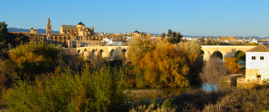 Cordoba mosque and roman bridge Stock Photography
