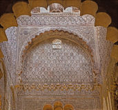 Cordoba - The mudejar stucco in side chapel - Capilla Real (13. - 14. cent.) in the Cathedral. Stock Photo