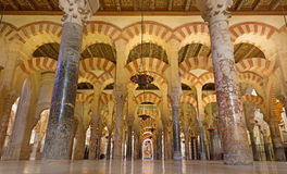 Cordoba - The Naves of Abd-Ar-Rahman I in the Cathedral. Royalty Free Stock Photo