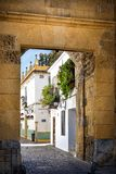 Cordoba: old typical street in the Juderia with plants and flowers. Andalucia, Spain royalty free stock photography