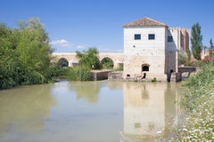 Cordoba - The rest of water mill and Roman bridge with the Torre Calahorra in the background Stock Photo