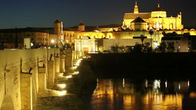 Cordoba. Roman bridge and Mezquita at night stock footage