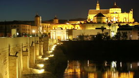 Cordoba. Roman bridge and Mezquita at night stock video footage
