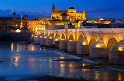 Cordoba with Roman bridge and  Mosque-cathedral in night Royalty Free Stock Image