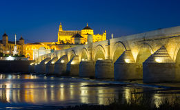 Cordoba with Roman bridge and  Mosque-cathedral. Night view of Cordoba with Roman bridge and  Mosque-cathedral.   Spain Stock Images