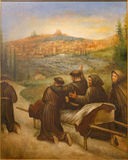 Cordoba - The scene St. Francis of Assisi benedicite before death the town Assisi. in church Convento de Capuchinos Royalty Free Stock Photo