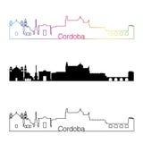 Cordoba skyline linear style with rainbow Stock Photography