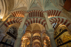 CORDOBA, SPAIN - April, 18, 2012: Interior of Mezquita-Catedral. A medieval Islamic mosque that was converted into a Catholic Christian cathedral Royalty Free Stock Photos