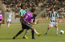 CORDOBA, SPAIN - AUGUST 18:  Ayina John W(11) in action during match league Cordoba (W) vs Ponferradina (B)(1-0) Stock Images