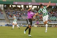 CORDOBA, SPAIN - AUGUST 18:  Luis Eduardo  W(6) in action during match league Cordoba (W) vs Ponferradina (B)(1-0) at the Municipa Stock Photos