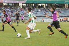 CORDOBA, SPAIN - AUGUST 18:  Pedro Antonio Sanchez W(15) in action during match league Cordoba (W) vs Ponferradina (B)(1-0) at the Stock Photography