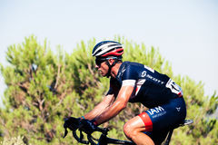 CORDOBA, SPAIN - August 26th, 2014: Sébastien Hinault (IAM Cycling) passing the last port of the 4th stage of the tour of Spain. Stock Image