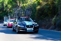 CORDOBA, SPAIN - August 26th: Team Sky assistance car passing the last port of the 4th stage of the tour of Spain (La Vuelta). Stock Photography