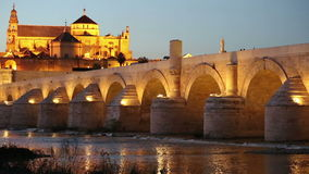 Cordoba, Spain cityscape at the Roman Bridge and Mosque-Cathedral stock footage