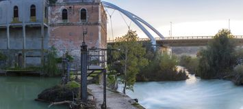 Old Casillas watermil former hydro-electric power plant, Cordoba, Spain. Cordoba, Spain - 2018 Dec 9th: Old Casillas watermil former hydro-electric power plant royalty free stock photos