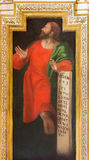 CORDOBA, SPAIN: Fresco of prophet Micah in church Iglesia de San Augustin by Cristobal Vela and Juan Luis Zambrano. CORDOBA, SPAIN - MAY 27, 2015: The fresco of Stock Images