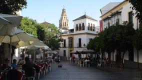 Pedestrians at Jewish Quarter, Cordoba, Andalusia, Spain. Cordoba, Spain - July 13, 2018: Pedestrians on Calle Blanco Belmonte, Jewish Quarter centre of Cordoba stock footage