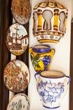 CORDOBA - SPAIN - JUNE 10, 2016 :Colorful ceramic spanish plates Royalty Free Stock Images