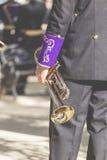 CORDOBA - SPAIN - JUNE 10, 2016 :Trombones playing in a big band Stock Photo