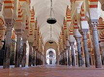 CORDOBA, SPAIN - MARCH 02, 2015: The Great Mosque or Mezquita cathedral interior. Mezquita cathedral interior - Cordoba, Spain Royalty Free Stock Photo