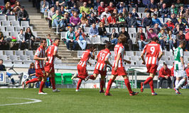 CORDOBA, SPAIN - MARCH 17:Hern�n Dar�o Pellerano R(4) in action match league Cordoba(W) vs Almeria (R)(4-1) Stock Images