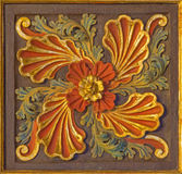 CORDOBA, SPAIN - MAY 26, 2015: The baroque carved and polychrome floral decoration in church Iglesia de San Augustin Royalty Free Stock Photos