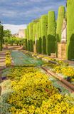 CORDOBA, SPAIN - MAY 25, 2015: The gardens of palace Alcazar de los Reyes Cristianos.  Stock Photography