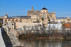 Cordoba, Spain, Medieval Cathedral and bridge Stock Photos