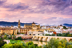 Cordoba, Spain. At the Roman Bridge and Mosque-Cathedral on the Guadalquivir River Royalty Free Stock Photos