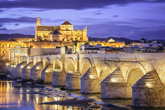 Cordoba, Spain at the Roman Bridge and Mosque-Cathedral Royalty Free Stock Photos