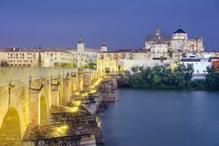 Cordoba, Spain at the Roman Bridge and Mosque-Cathedral Royalty Free Stock Photography